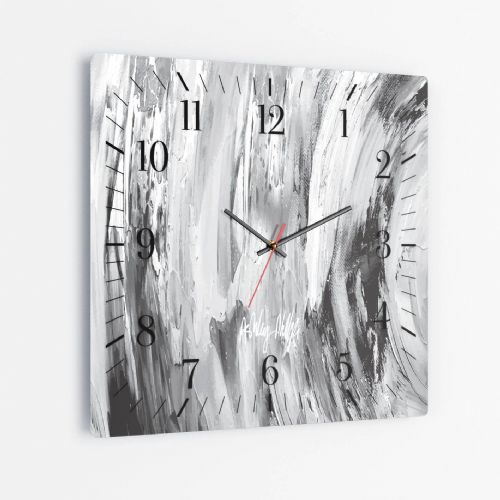 Sonic Wave Grey - Square Glass Clock